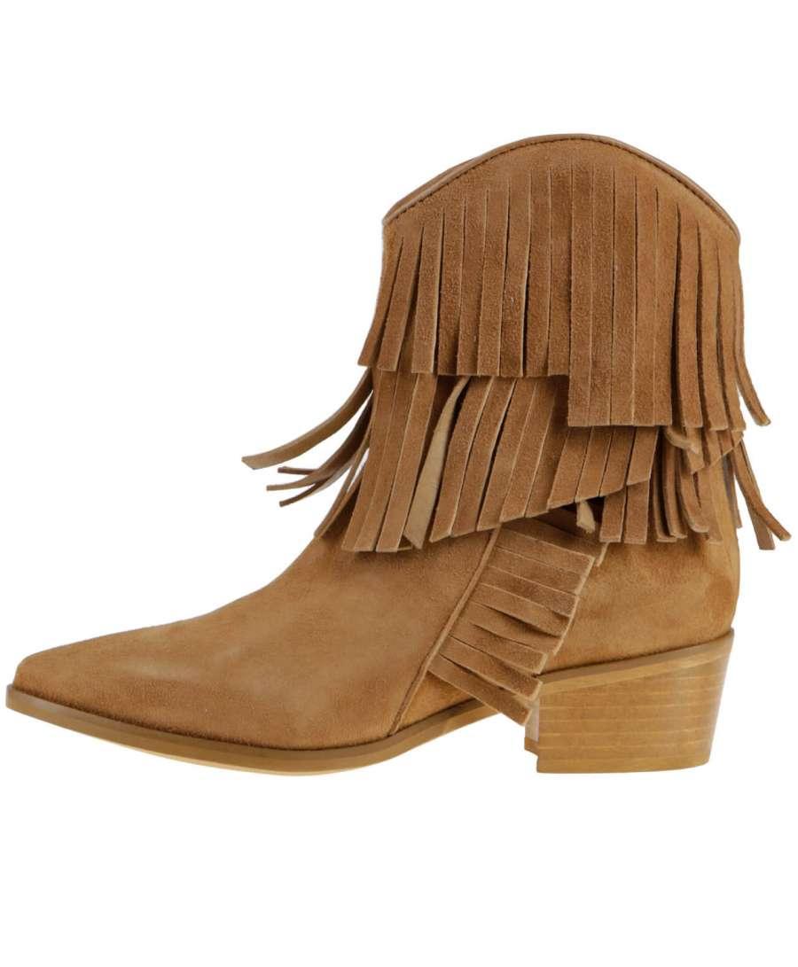 Fringe ankle boots mustard